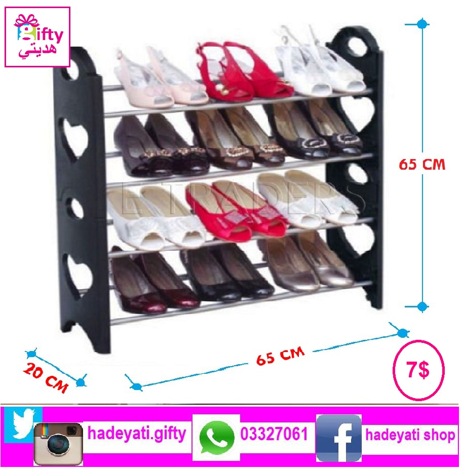 4 TIER SHOE Rack STORAGE RACKS BLACK  ستاند أحذية
