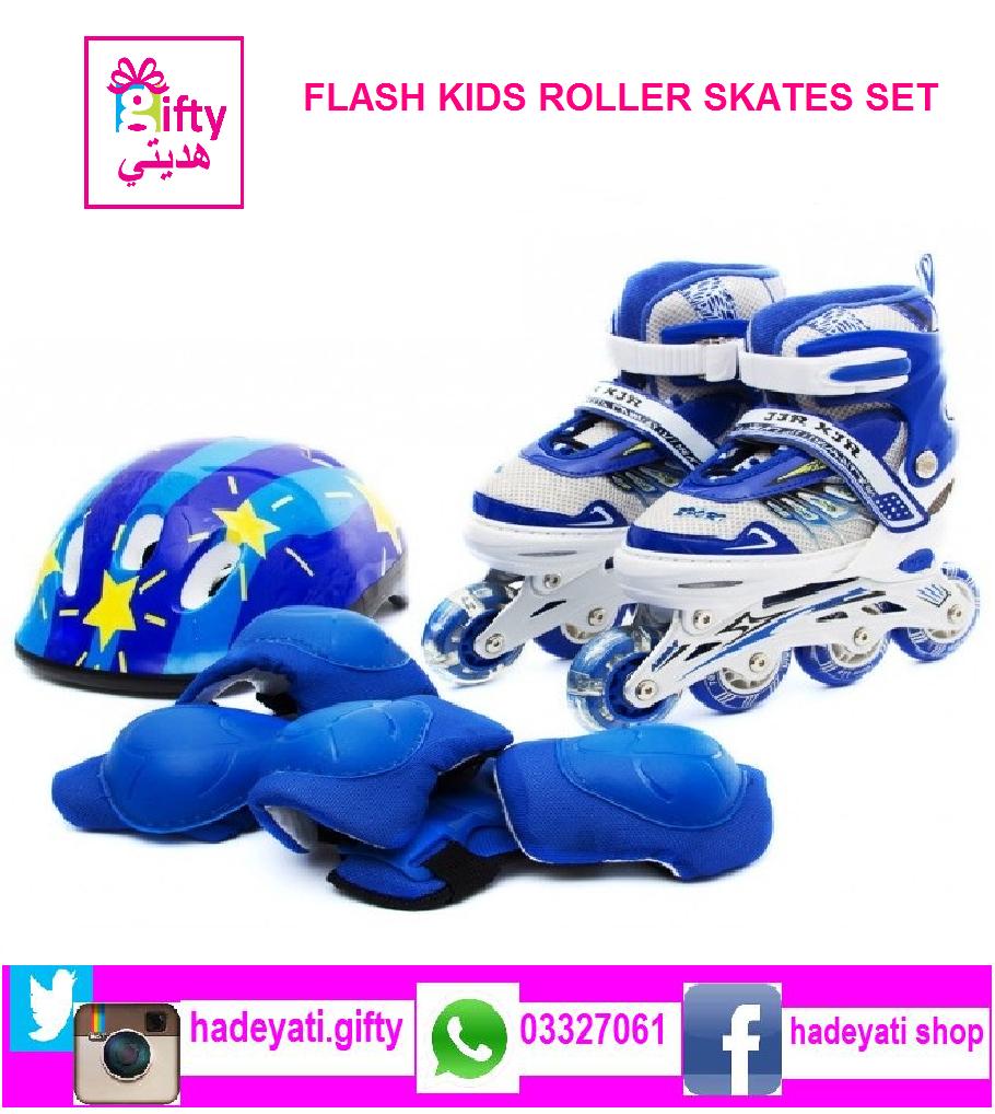 FLASH KIDS ROLLER SKATES SET ADJUSTABLE WITH LED WHEELS BLUE