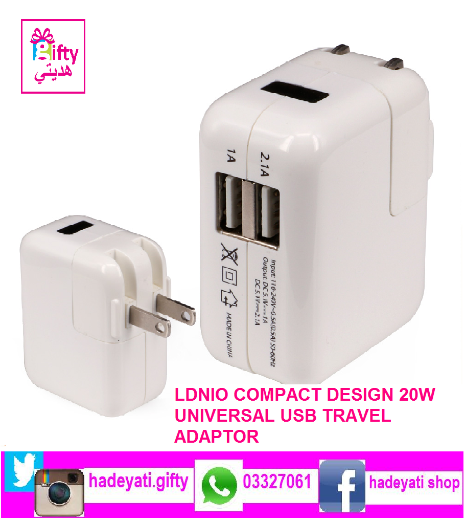 LDNIO COMPACT DESIGN 20W UNIVERSAL USB TRAVEL ADAPTOR