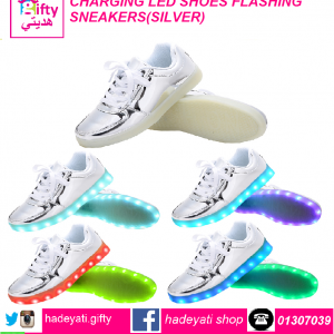 CHARGING LED SHOES FLASHING SNEAKERS(SILVER)