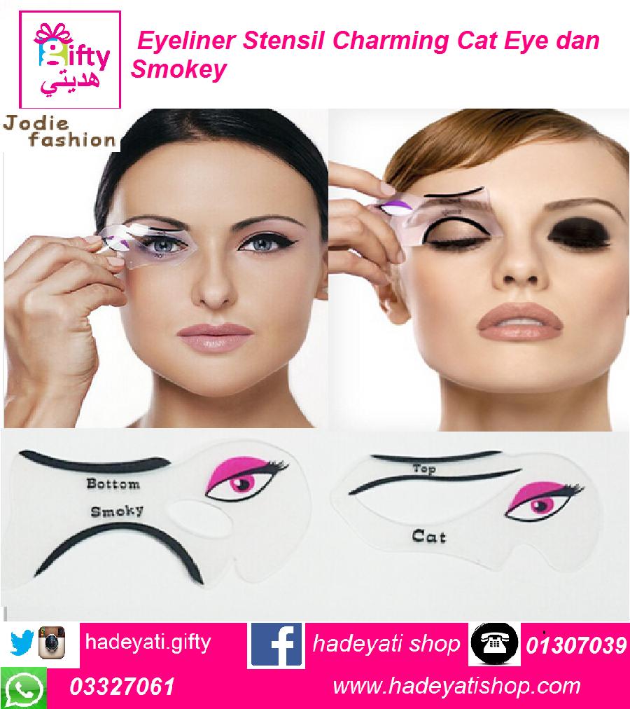 Kosmetik Eyeliner Stensil Charming Cat Eye dan Smokey Mata  Kit 2 pcs/pack