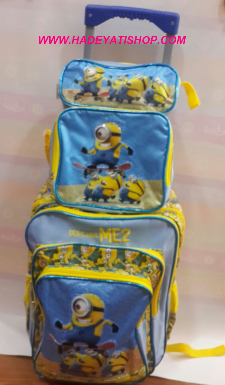 MINIONS trolley school bag with lunch&pencil bag,3 pcs in 1 set