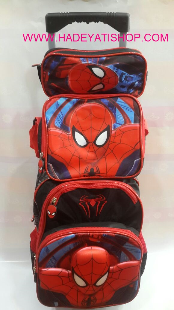 SPIDERMAN trolley 3D school bag with lunch&pencil bag,3 pcs in 1 set