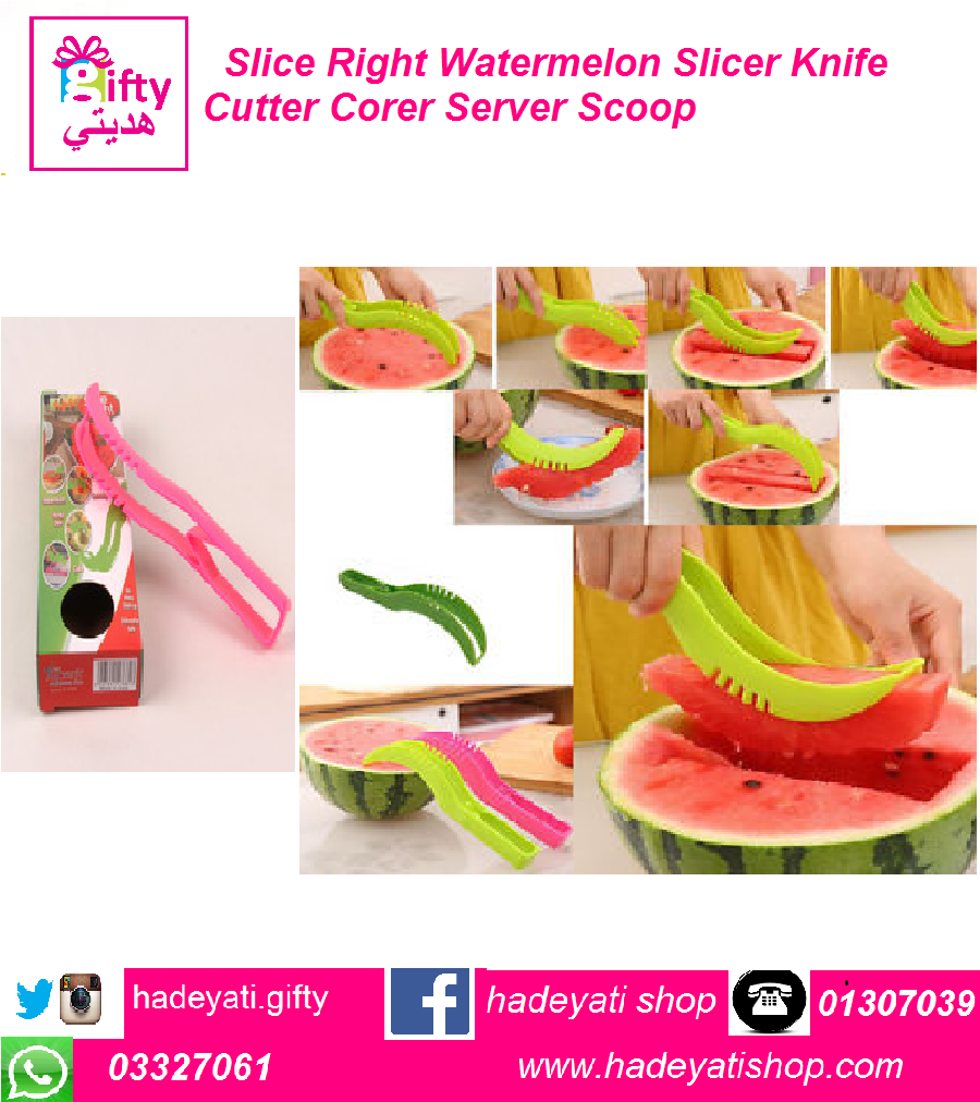 Slice Right Watermelon Slicer Knife Cutter Corer Server Scoop