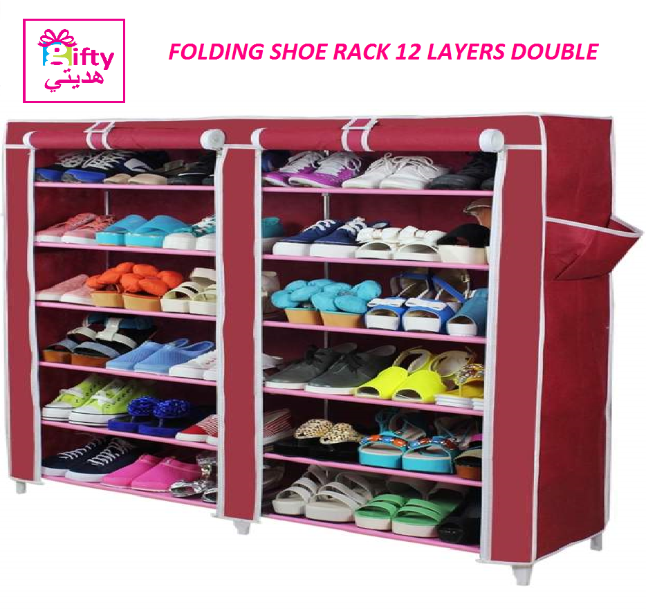 FOLDING SHOE RACK 12 LAYERS DOUBLE