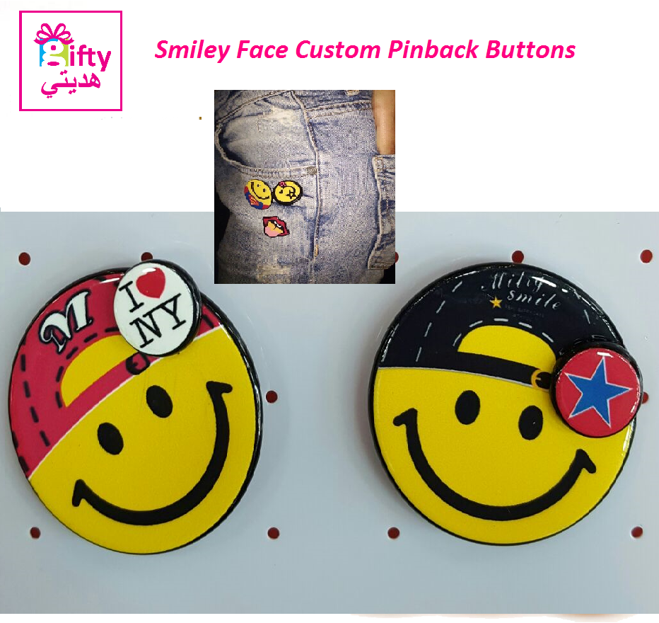 Smiley Face Custom Pinback Buttons