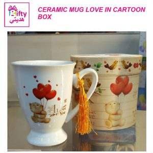 CERAMIC MUG LOVE IN CARTOON BOX BW