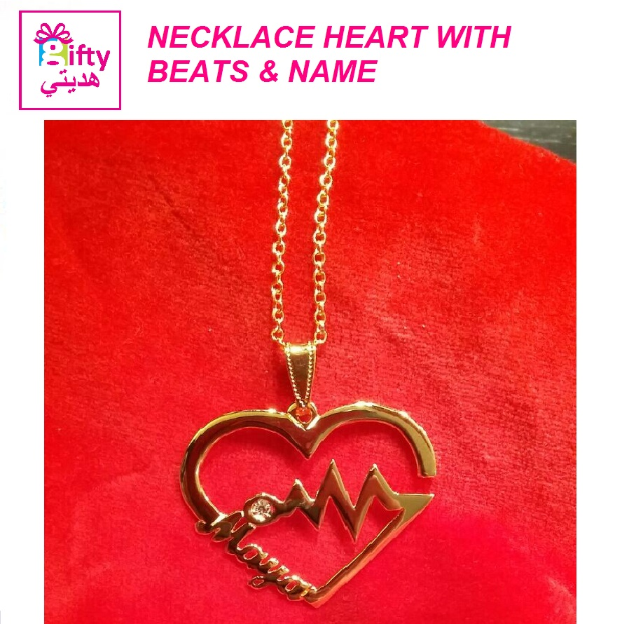 NECKLACE HEART WITH BEATS & NAME