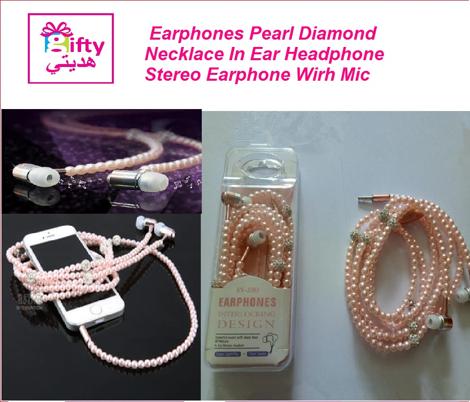 Earphones Pearl Diamond Necklace In Ear Headphone Wired Headset  Earphone Wirh Mic