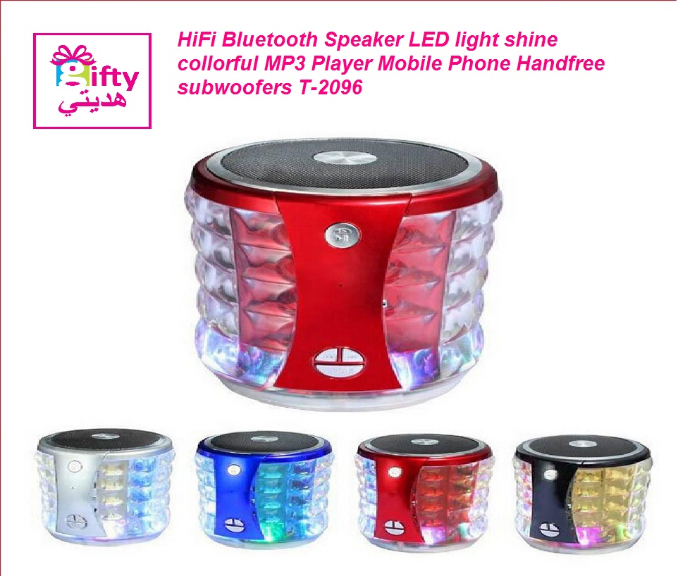 HiFi Bluetooth Speaker LED light shine collorful MP3 Player Mobile Phone Handfree subwoofers T-2096