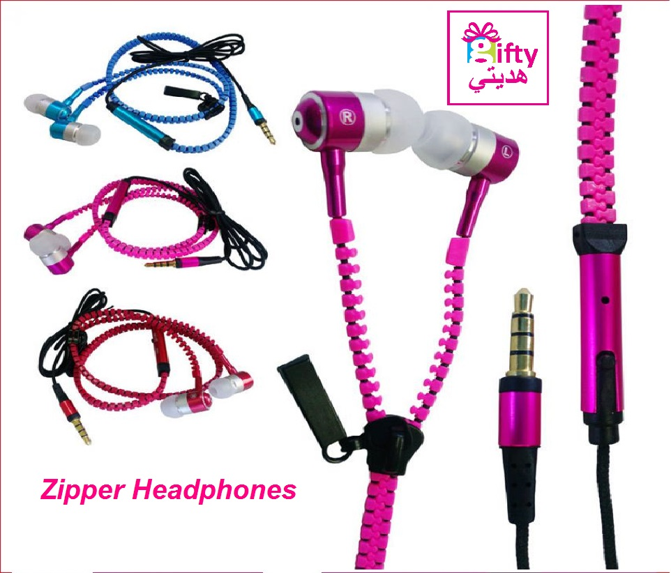 Zipper Headphones With Mic Headset