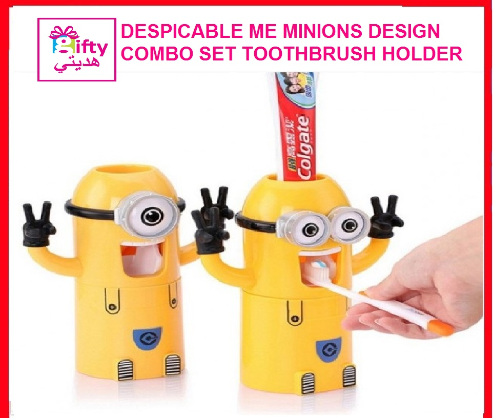 DESPICABLE ME MINIONS DESIGN COMBO SET TOOTHBRUSH HOLDER AUTOMATIC TOOTHPASTE DISPENSER WITH RINSE CUP