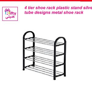 4 tier shoe rack plastic stand silver tube designs metal shoe rack W