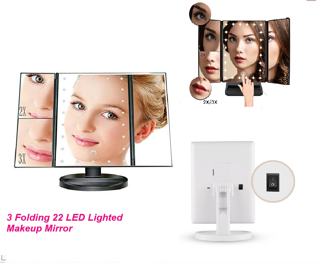 3 Folding 22 LED Lighted Makeup Mirror Adjustable Stand Desk Cosmetic Mirror 2X 3X Magnifying