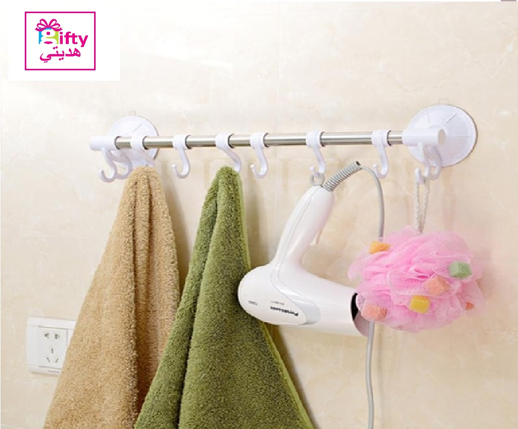 Stainless Steel Suction Cup Bathroom Towel Hook Rack