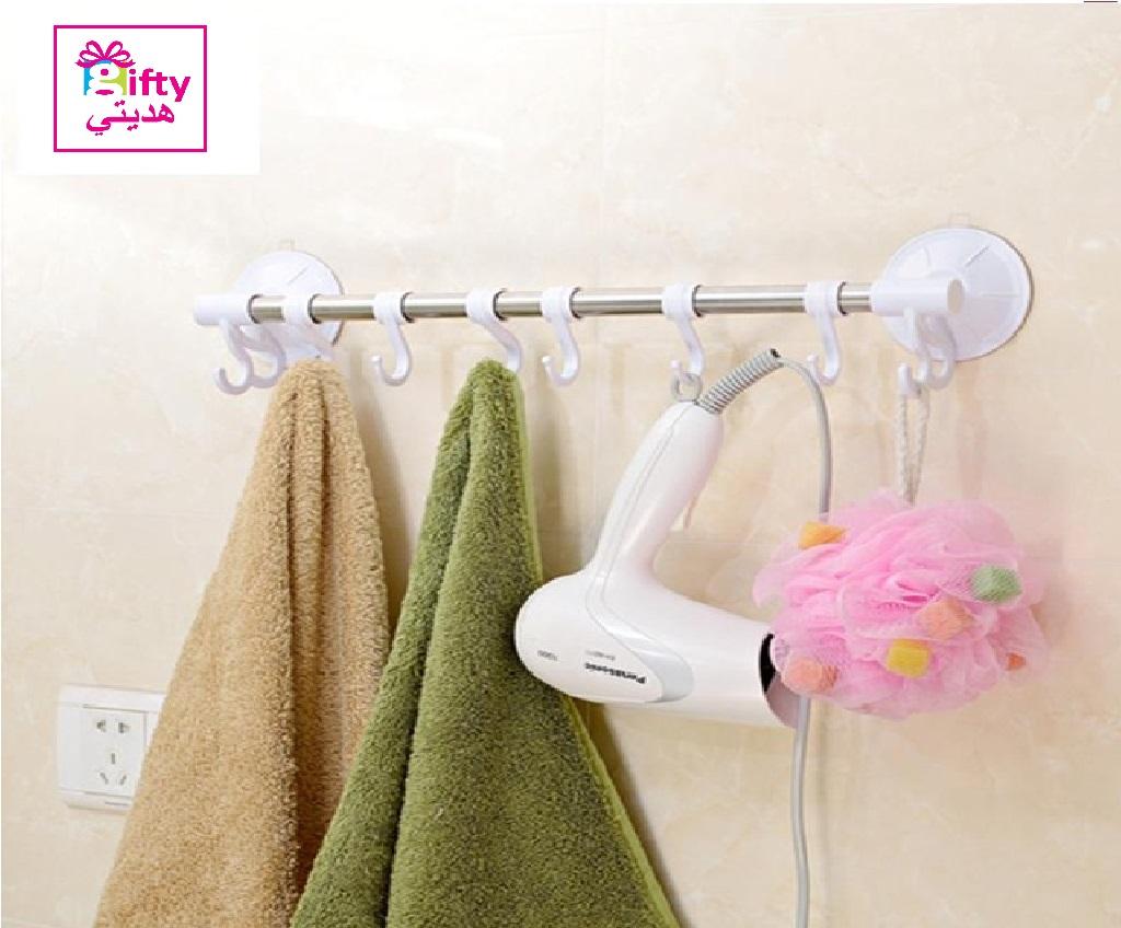 Stainless Steel Suction Cup Bathroom Towel Hook Rack