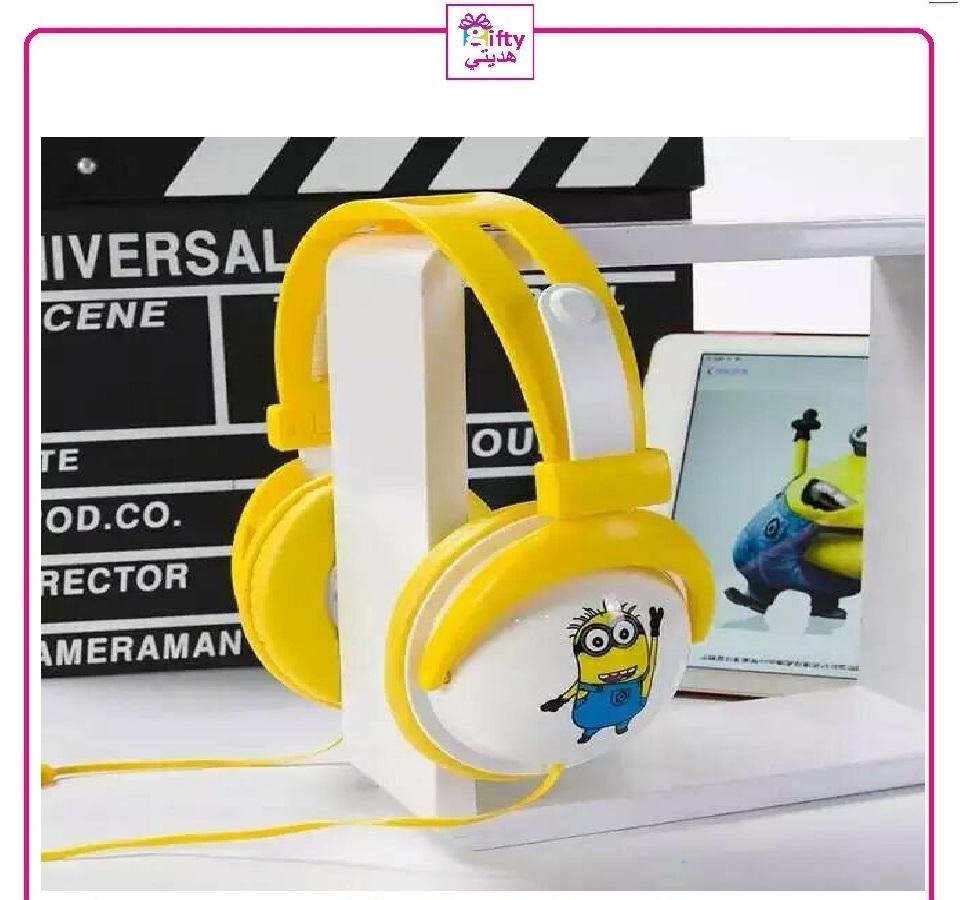 3.5MM Plug Microphone Minions Headset Cartoon Yellow Headphone For Kids Stereo