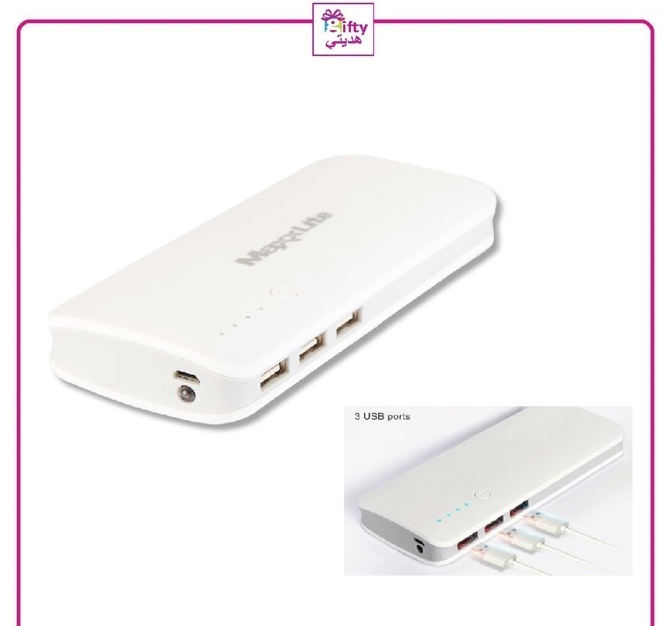 10000 mAh 3 Port USB Power Bank With LED Torch W