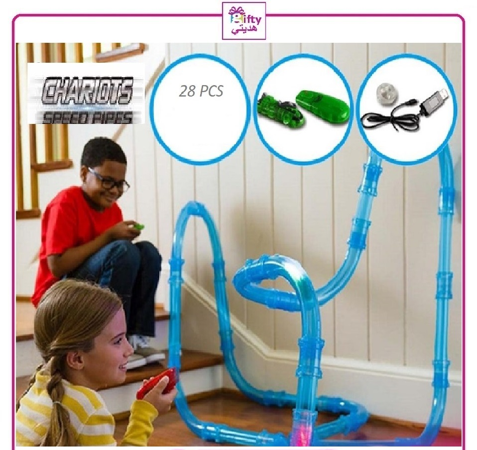 28 PC REMOTE CONTROL CHARIOTS SPEED PIPE LINE RACING TRACK CAR LED LIGHT TOY W