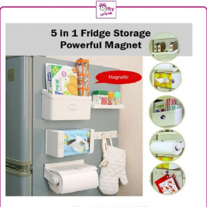 5 Pcs Organizer Magnetic Set For Home Use & Refrigrators - Rangement Cuisine Aimante- WHITE w