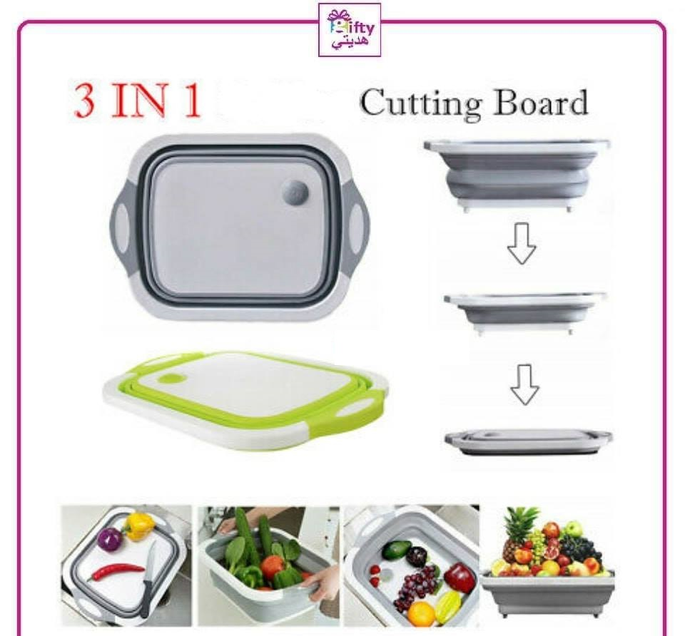 3 in 1 Folding Cutting Board Kitchen Foldable Drain Basket Vegetable Washing Basket with Colanders