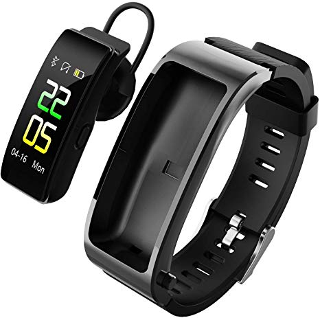 2 in 1 Y5 Talkband Bluetooth Headset Smart Bracelet Handsfree Smart Watch Fitness Headset Earphone Heart Rate Monitor Fitness Tracker(Black+Silicone Strap)