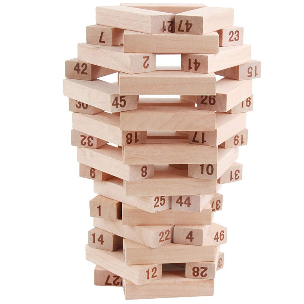Stacking High 51 pcs Wooden Blocks Stacking Building Tower Game